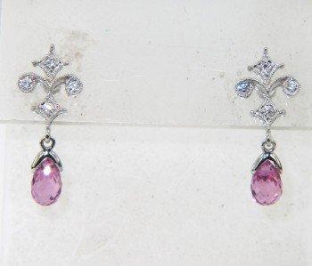 18K White Gold Tourmaline Diamond Earrings