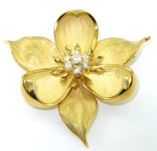 190: Tiffany & Co18K Yellow Gold, Diamond  Flower Pin