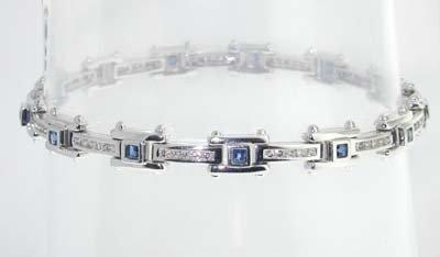 4A: 14k White Gold  Sapphire and Diamond Bracelet