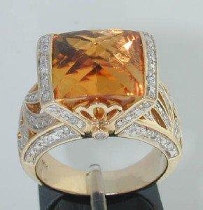 8A: 14K Yellow Gold Citrine Diamond Ring