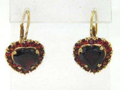 17A: 18K Yellow Gold Garnet  Earrings