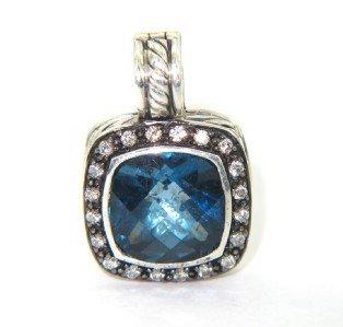 13: David Yurman Silver Diamond & Blue Topaz Pendant