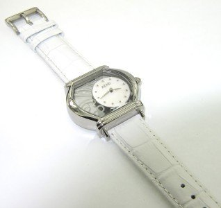 5A: Azad Stainless Steel White Leather Strap watch