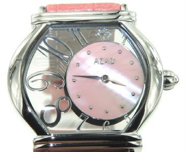 10A: Azad Stainless Steel Pink Leather Strap watch