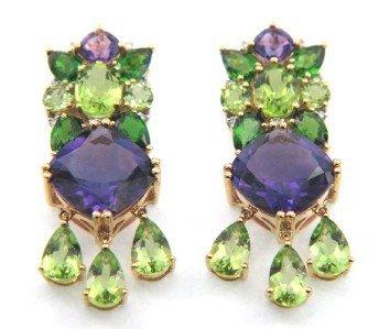 191A: Salavetti 18K Gold Diamond,Amethyst,Tourmaline Ea
