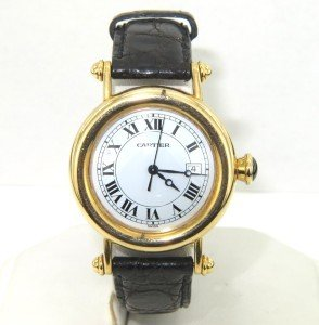 6: Cartier 18K Yellow Gold Leather Strap watch