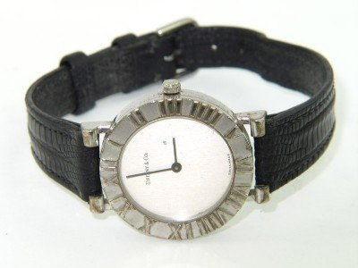 13: Tiffany & Co. Silver Leather Strap Watch
