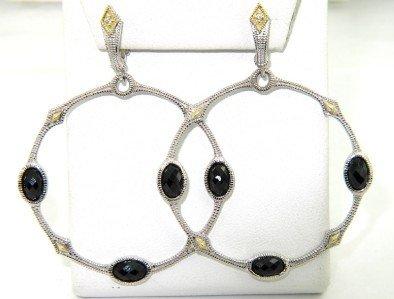 21: Judith Ripka Silver/18K  Gold, Onyx & Diamond Earri