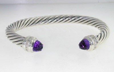 22: David Yurman Silver Amethyst Diamond Bangle