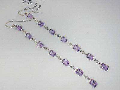25: Laura Munder 18K White Gold Amethyst Diamond Earrin