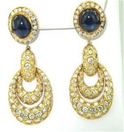 382: Salavetti 18K Yellow Gold, Diamond & Sapphire Earr