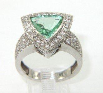 24: Salavetti 18K White Gold Prasiolite & Diamond Ring
