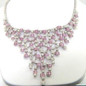 196: Salavetti 18K White Gold Diamond Pink Sapphire Nec
