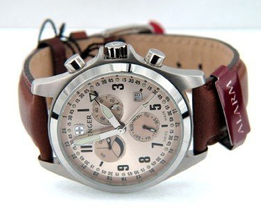 7: Wenger Stainless Steel Chronograph Leather Strap Wat
