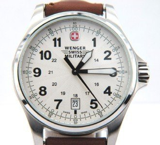 14: Wenger Stainless Steel Leather Strap Watch