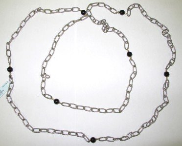 4: Silver/14K Yellow Gold Onyx  Necklace