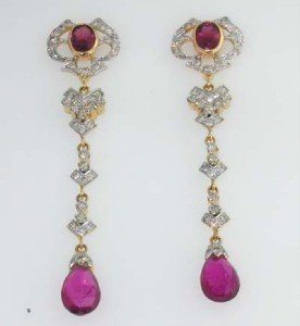 11: 14K Yellow Gold Tourmaline & Diamond Earrings