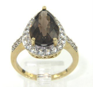 13: 10K White Gold Smoky Topaz & White Sapphire Ring