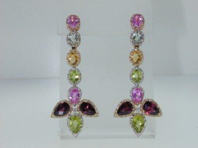 16: 14K MultiToned Gold Multi Color Stones Diamond Earr