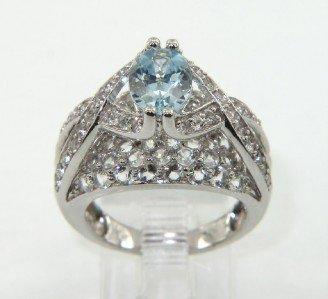 17: 14K White Gold Aquamarine,Diamond & Sapphire Ring.