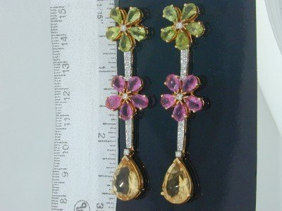 19: 18k Yellow Gold, Multi-color Stone & Diamond Earrin