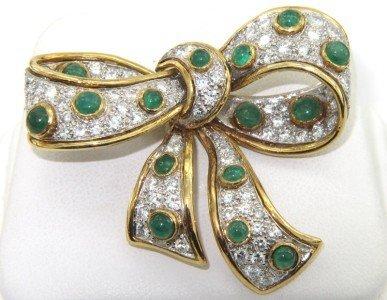 248: Van Cleef & Arpels 18K Yellow gold Diamond Emerald