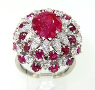 314A: Platinum Burma Ruby & Diamond Ring.