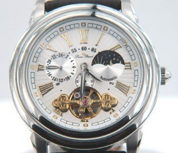 5: Lucien Piccard Stainless Steel  Leather Strap Watch