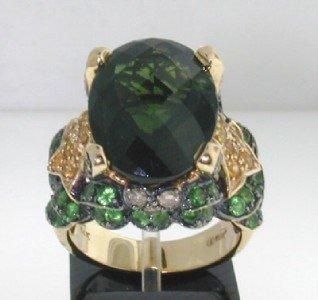 5: 14K Yellow Gold, Tsavorite, Sapphire & Diamond Ring
