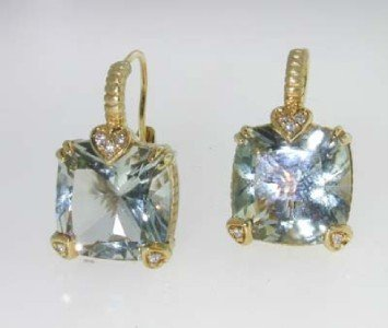 11: Judith Ripka 18K Gold, Prasiolite & Diamond Earring
