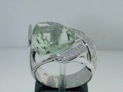 18: BJC 14k White Gold Prasiolite & Diamond Ring.