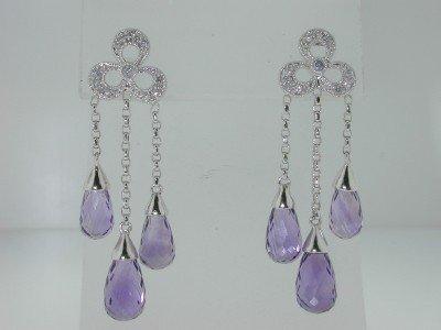 19: 14K White Gold Amethyst Diamond Earrings