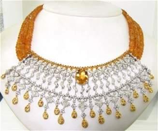 386: 18K White/Yellow Gold Citrine Sapphire Diamond Nec