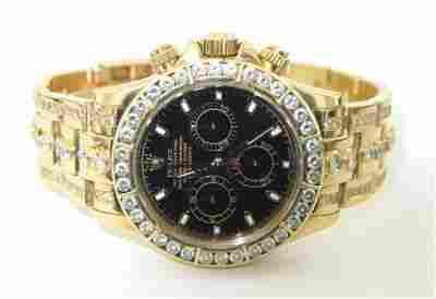 Rolex Daytona18K Gold Diamond Chronometer Mens Wa