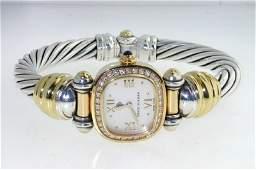 177 David Yurman Gold  Silver Diamond Sapphire Watch