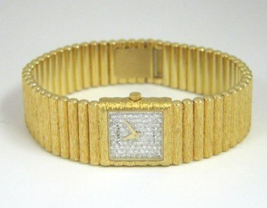 181: Juvenia 18K Yellow Gold, Diamond Watch.