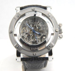 3: Akribos Stainless Steel Skeleton Leather Strap Watch