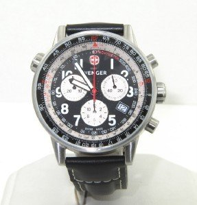 10A: Wenger Stainless Steel Chronograph Leather Strap W