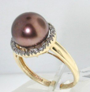5: 5: 14K Yellow Gold Diamond & Pearl Ring - 2