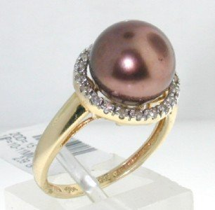 5: 5: 14K Yellow Gold Diamond & Pearl Ring - 3