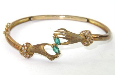 10: 10: 14K Yellow Gold Emerald & Diamond Bangle