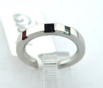 20: 20: Asprey 18K White Gold, Multi - Colored Stone Ri