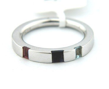 20: 20: Asprey 18K White Gold, Multi - Colored Stone Ri - 3
