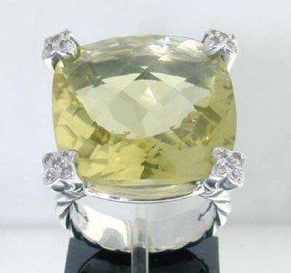 12: David Yurman Silver, Lemon Citrine & Diamond Ring.