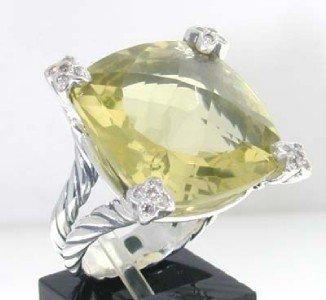 12: David Yurman Silver, Lemon Citrine & Diamond Ring. - 2