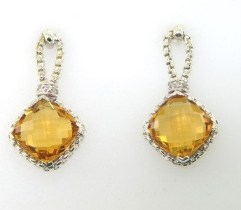 15: David Yurman Silver, Citrine & Diamond Earrings
