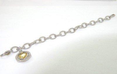 9: Judith Ripka 18K Gold / Silver, Citrine Bracelet - 3