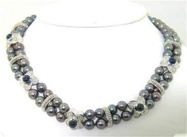 224: Salavetti 18K Gold, Diamond, Pearl & Sapphire Neck
