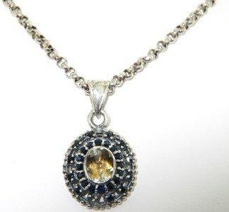 7: 7: Silver Citrine & Onyx Necklace