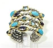 165: 165: David Yurman 18K Gold/Silver Turquoise Ring
